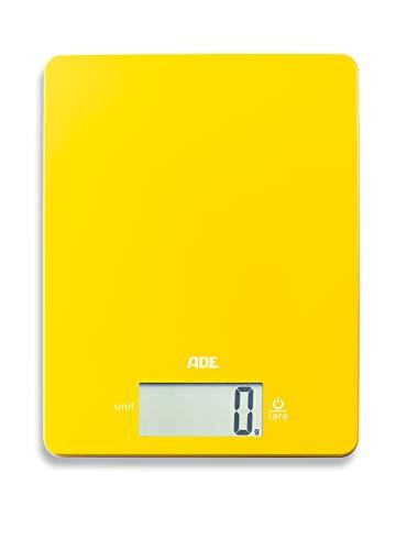 ADE Digitale Küchenwaage KE 1800-2 Leonie (Elektronische Waage für Küche und Haushalt, extrem flach, präzises Wiegen bis 5 kg, Zuwiegefunktion) gelb
