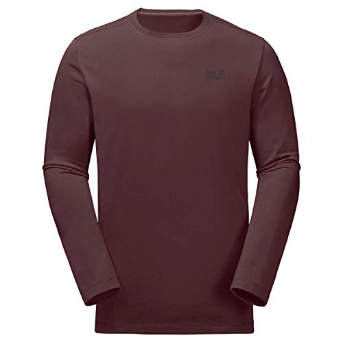 Jack Wolfskin Essential Shirt a Manches Longues Homme, Port Wine, FR : S (Taille Fabricant : 2)