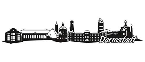 Samunshi® Darmstadt Skyline Wandtattoo Sticker Aufkleber Wandaufkleber City Gedruckt Darmstadt 120x21cm schwarz