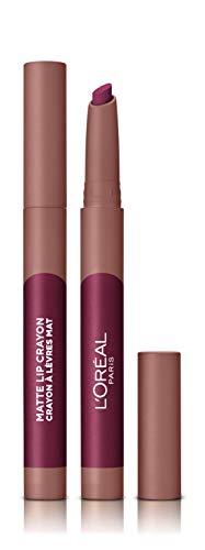 LOreal Paris Make-up Designer - Pintalabios Matte Crayón 107 Sizzling Sugar permanente, morado - 22 ml
