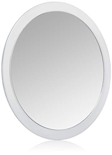 Jerdon JSC5 9-Inch Portable Suction Mirror with 5x Magnification and Vinyl Travel Case, Clear Acrylic Finish