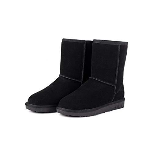 Tiowea Dames normale lak houden warme vlakke hiel kortsluiting sneeuw opladen bootschoenen 38 EU zwart