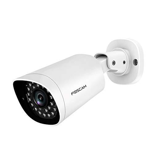 Foscam G2EP - Cámara Exterior PoE Calidad 2MP con visión infrarroja de 20 Metros, Consulta a Distancia sobre móvil, Almacenamiento de Tarjeta SD de 128 GB, IP66 Blanco