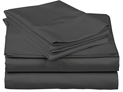"RV Short Queen Sheet Set 400 Thread Count Egyptian Cotton Made for RV, Camper & Motorhomes Cool and Breathable Wrinkle Free 4 PCs Sheet Set 15"" Deep Pocket - Short-Queen (60"" X 75""), Dark Grey Solid"