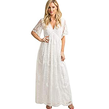 Women V Neck Long Evening Maternity Dress Casual Short Sleeve Floral Lace Boho Wedding Cocktail Party Floor Length Maxi Dress Summer Pregnancy Baby Shower Photo Shoot Gown for Photography Prop White