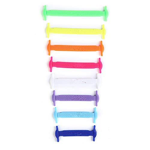 KUYiA Lacci elastici piatti in silicone colorati per scarpe bambini e adulti