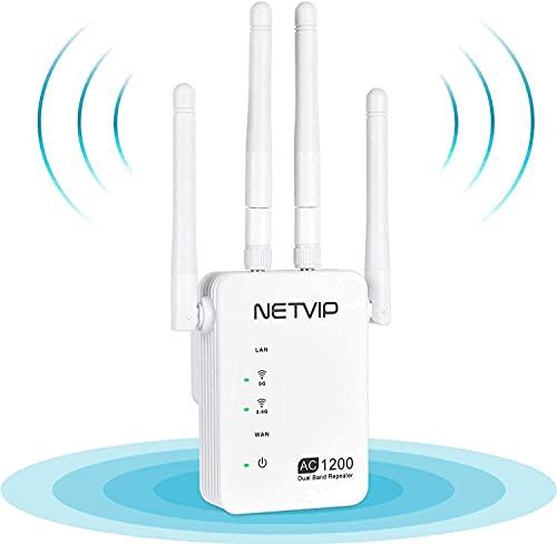 NETVIP WLAN Repeater Verstärker 1200Mbit/s WLAN Repeater (5GHz 867Mbit/s 2,4GHz 300Mbit/s) Repeater/Router/Access Point Modus,2 Ethernet Ports WLAN Repeater Signal kompatibel mit Allen WLAN Geräte