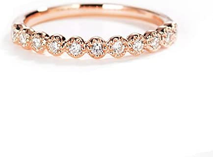Grhose Gold Plated Round Cubic Zirconia At the price of surprise Half Eternity El Paso Mall W CZ Ring