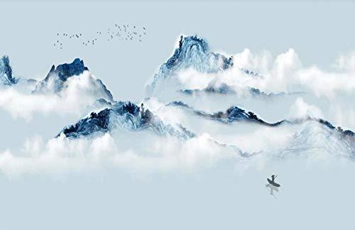 Fotomurales 3D Papel Pintado Pared Paisaje De Nubes De Pico De Montaña Azul Papel Pintado Fotográfico Mural Salón Dormitorio Decoración de Paredes Wallpaper 300cmx210cm