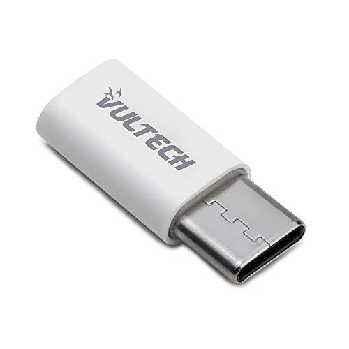 Vultech Adaptador Micro-USB a Type C ADP-01P para transmisión de Datos para MacBook Pro, Samsung y Huawei, Color Blanco