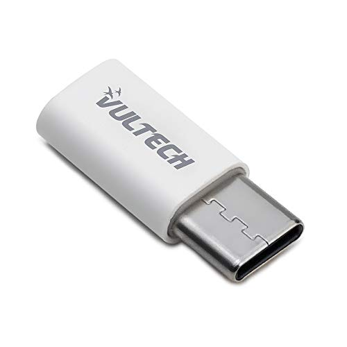 Vultech Adattatore Micro-Usb To Type C ADP-01P per trasmissione dati per MacBook Pro, Samsung e Huawei, Bianco