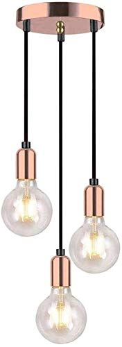 Vinteen Traditional 3-Light Modern Simplicity Spiral Pendant Light Fitting Retro E27 Edison Style Lamp Holder Suspended Hanging Light Fitting-Rose Copper Decorative Victoria Chandelier