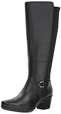 CLARKS Women's Emslie March Wide Calf Fashion Boot, Black Leather, 085 M US