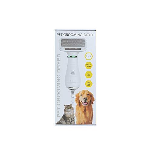 XJ Los Mascotas Peine del Perro casero Cepillo Secador de Pelo, Preparación Peine 2 en 1 Perro Mascota Secadora BRU Blanco