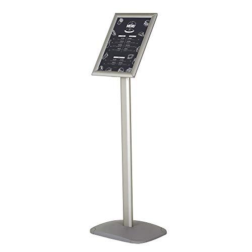 DISPLAY SALES Infoständer DIN A3 für Plakate mit 297 x 420 mm. Silber PREMIUM Design Informationsständer (1,20 m Gesamthöhe). Rostfreie schwere Alu Fußplatte. Infohalter für Hoch-/Querformat Einsatz