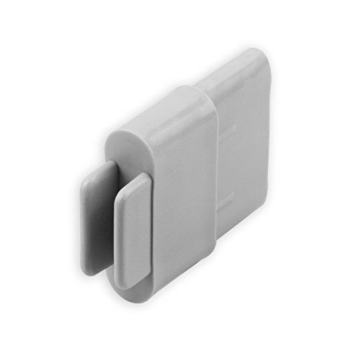 DIWARO Endstabgleiter | Größe 35mm x 14mm | Farbe braun, grau oder weiß | Material Kunststoff | für Endleiste, Endschiene, Winkelendschiene | Rolladenpanzer, Jalousie, Rollo (grau)