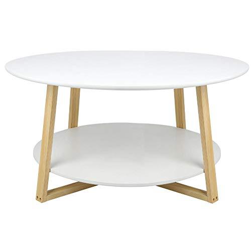 EBTOOLS ronde salontafel, 2 niveaus, hout, bijzettafel, woonkamertafel, nachtkastje, koffietafel, koffietafel voor slaapkamer, kantoor, expositieruimte, woonkamer, wit, 90 x 90 x 45 cm