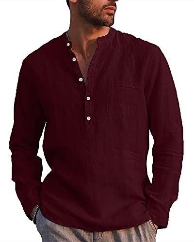 LVCBL Herren-Hemd mit Knopf Sommer-Freizeithemd Alltagskleidung Weinrot XL