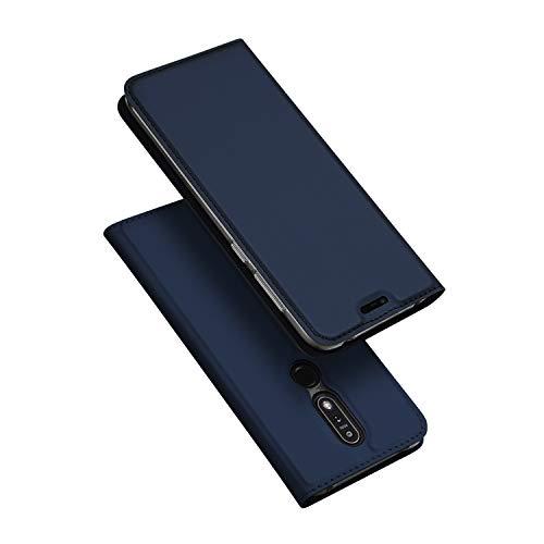 DUX DUCIS Cover Nokia 7.1, Flip Caso Custodia Pelle PU con [Funzione Stand] [Slot Cart] [Magnetica] per Nokia 7.1 (Blu)