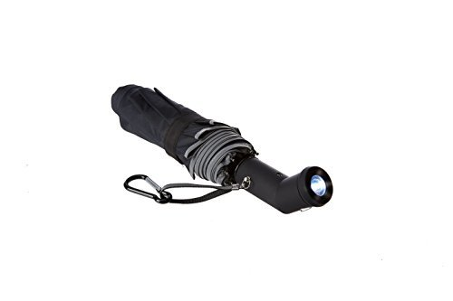 M&M² Lightweight Windproof Compact Travel Black Rain Umbrella Auto Open Close with Two Position Rotating LED Flashlight Handle