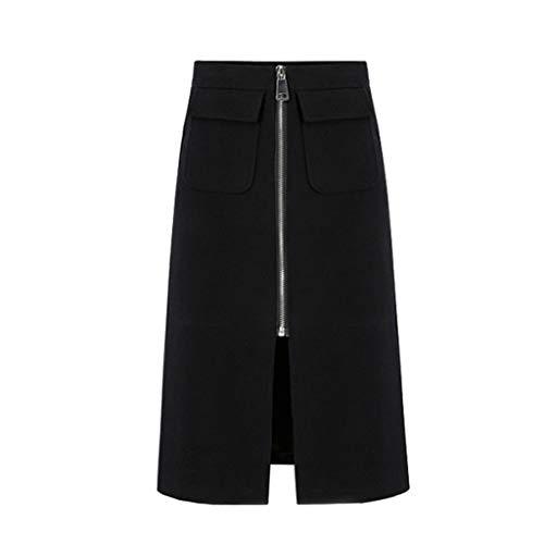 Andouy Damen Casual Mittlere Taille Zipper Front Rock Bodycon Tasche Pencil Skirts Schwarz(XL.Schwarz)