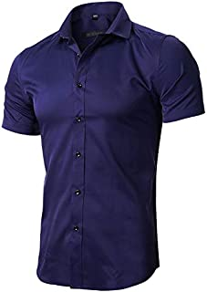 FLY HAWK Mens Dress Shirts, Slim Fit Bamboo Fiber Short Sleeve Elastic Casual Button Down Shirts