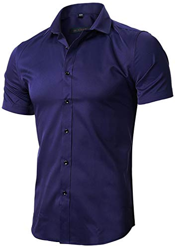 FLY HAWK Mens Bamboo Fiber Fitted Collared Formal Short Sleeves Shirts, Navy Blue, US L
