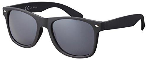 Sonnenbrille Herren Damen Unisex La Optica UV400 Vintage Retro Autofahren - Gummiert/Rubber Schwarz (Gläser: Grau)