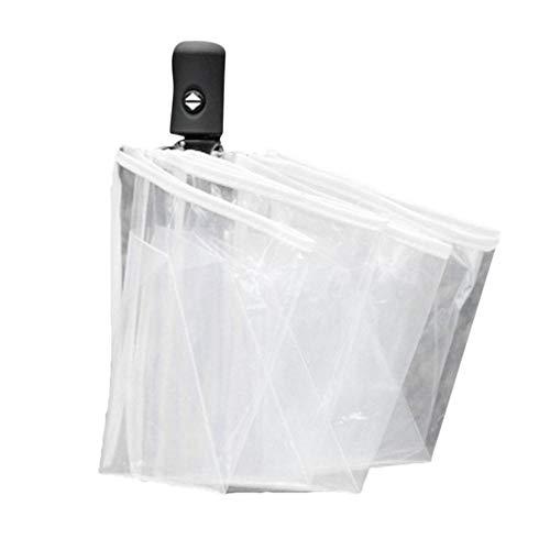 Piner Compact Volautomatische paraplu Drie opvouwbare doorzichtige winddichte paraplu's Dames Heren 8 rib Rainproof Transparante paraplu-cadeau, wit