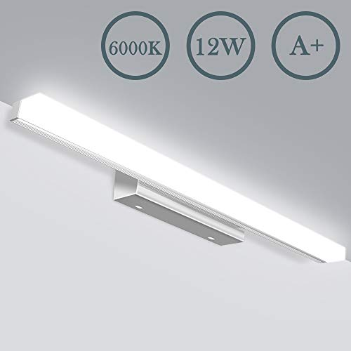 JSLHT LED Spiegelleuchte Badezimmer 50cm Wasserdichte IP44 Bad Spiegellampe 230V 12W 800LM 8000K, Kaltweiss Schrankleuchte Badleuchte für Badzimmer und Wandbeleuchtung