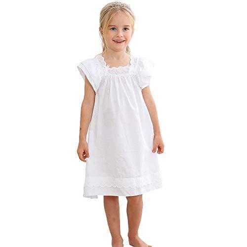 Flwydran Nachthemden für Mädchen, Langarm-Nachthemden aus weicher Baumwolle für Mädchen von 3-12 Jahren