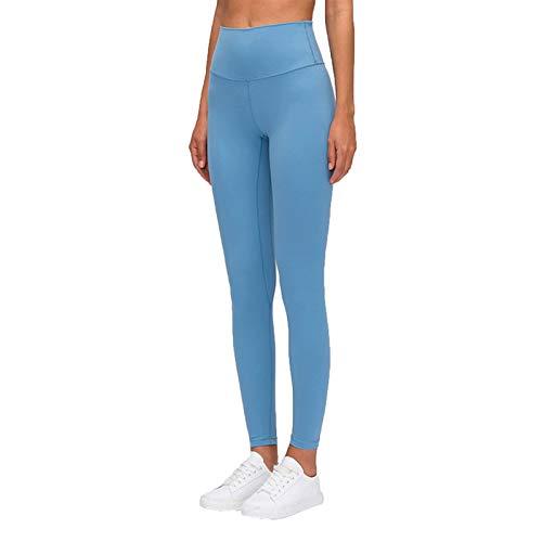 Pantalones de yoga para mujer, sensación desnuda, cintura alta, gimnasio, deportes, pantalones de yoga a prueba de sentadillas, leggings ligeros (color: azul lago, tamaño: mediano)