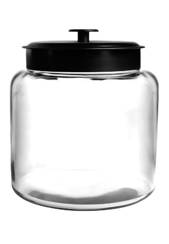 Anchor Hocking Montana Glass Jar with Airtight Lid, Black Metal, 1.5 Gallon