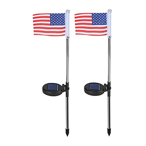 Solar America Bandera Luces, Lámpara Solar A Prueba De Agua Al Aire Libre, Luces De Polos De La Bandera Solar, Encendido / Apagado Automático Super-luminoso, Ahorro De Energía Solar Con Luz Solar