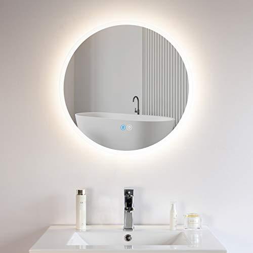 Habison Espejo de pared para baño con iluminación LED, redondo, 60 x 60 cm, con interruptor táctil, marco acrílico, sin niebla, luz fría de 6400 K