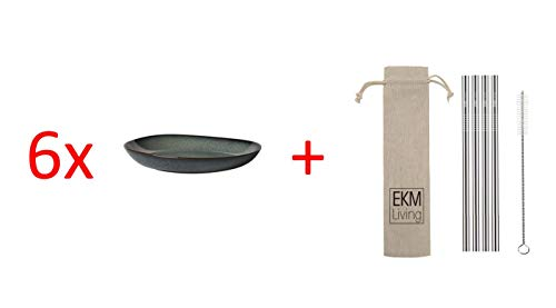 Villeroy & Boch Lave gris Schale flach 6 Stück Nr. 1042593800 und 4er Set EKM Living Edelstahl Strohhalme