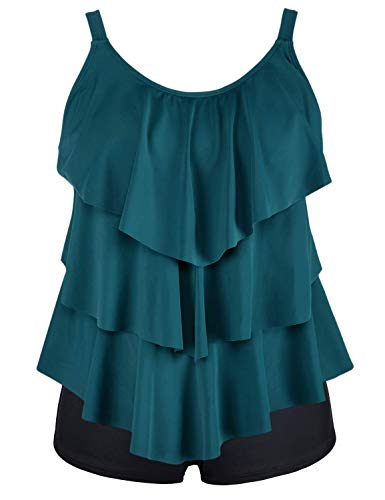 Septangle Women's Ruffled Tankini Two Piece Swimsuit Soild Black Swimsuit Bathing Suit Green US 10