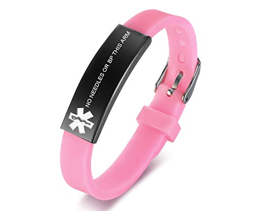 VNOX NO Needle OR BP This ARM Medical Alert Pink Silicone Rubber Adjustable Cuff Wristband for Adult Child