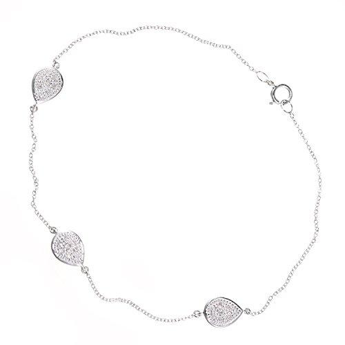 Naava vrouwen 9ct wit goud diamant traan ontwerp armband van lengte 18,5 cm