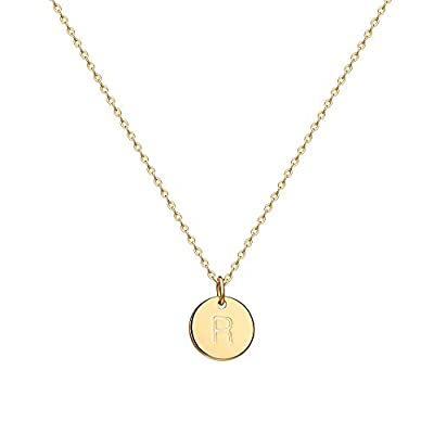 "Valloey Gold Initial Pendant Necklace, 14K Gold Filled Disc Double Side Engraved 16.5"" Adjustable Dainty Personalized Alphabet Letter Pendant Handmade Cute Tiny Necklaces Jewelry Gift for Women(R)"