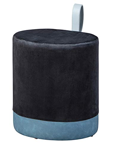 PEGANE Pouf Velours Noir avec Sangle en PU - Dim : 38 x 32,5 x 43 cm