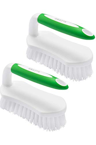 Amazer Scrub Brush Comfort Grip & Flexible Stiff Bristles Heavy Duty for Bathroom Shower Sink Carpet Floor - Pack of 2 (Green+Green)