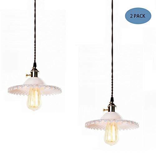 Vintage Industriële Hanglamp Montage Met Fold Deksel Shape Lampenkap Retro Gevlochten Flexibele Draad Plafondlamp E27 Messing Afwerking Hangende Lighting,2pack white