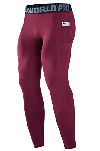 SILKWORLD Men's Long Johns Underwear Thermal Tights Compression Pants for Basketball, Running & Workout, Dark Red, US 2XL