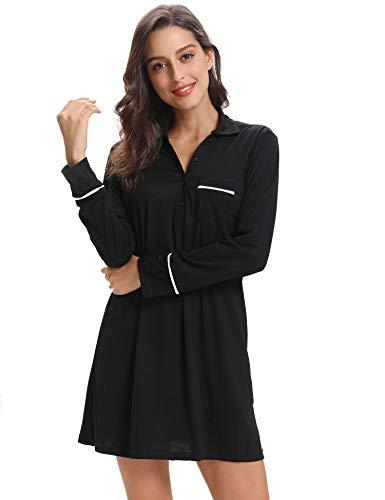 Aibrou Kimono Camison de Manga Larga del Algodon,Suave Comodo y Agradable (X-Large, Negro)