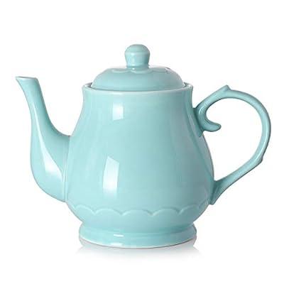 DOWAN Porcelain Teapot 40 Ounces Large Ceramic Tea Pot - Lake Blue