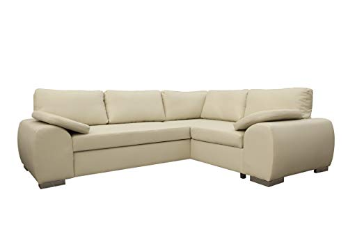 ENZO - CORNER SOFA BED WITH STORAGE - FAUX LEATHER - RIGHT HAND SIDE ORIENTATION (CREAM)