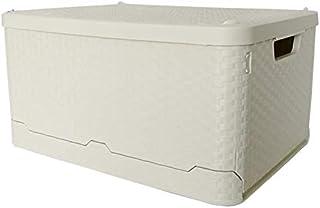 GWZZ Glenmore Plastique Boîte de Rangement avec Couvercle Pliant Panier en rotin Effet Beige Container Pliable superposabl...