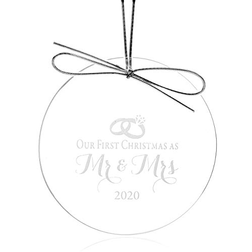 Crystal Wedding Ornament - Our First Christmas as Mr and Mrs 2017 - Elegant Design Etched on Round Jade Crystal Ornament (3 Inches) in Gift Box - Marriage or Bridal Shower Gift Idea for Newlyweds