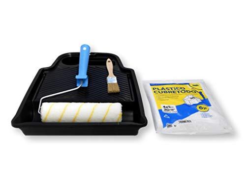 TECPINT KIT PINTURA INTERIOR - (Económico) Rodillo de Pintura Antigoteo Calidad Profesional - Cubeta plana - Rodillo 22 cm - Cubre Todo 4 X 5 m - Pincel de Madera 30 mm - ESPECIAL PINTURA INTERIORES.
